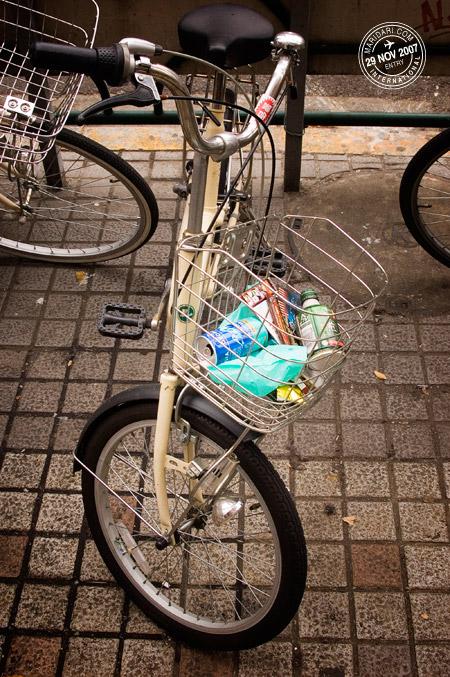 Tokyo bicycle trash bin