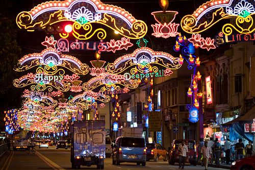 Deepavali street light-up in Singapore, photo by David Sifry