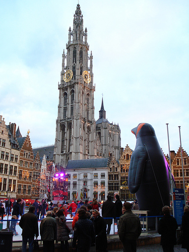 Grote Markt and bell tower of the Cathedral of Our Lady, Antwerp, Belgium, photo by Ricardo Martins