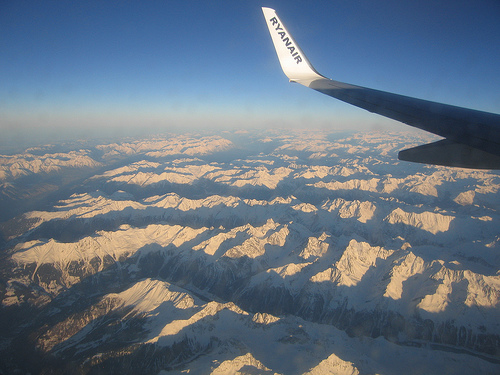 Ryanair plane flying over the Italian Alps, photo by Ben Dalton