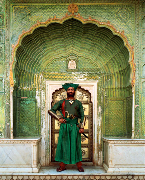 The Indian in front of City Palace, Jaipur in Rajasthan, India a scene in The Fall, movie by Tarsem Singh