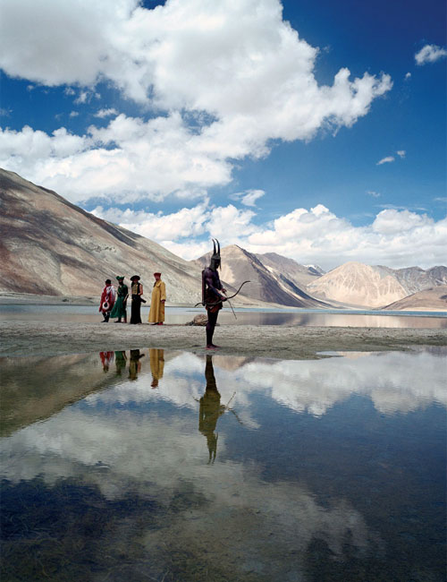 A scene from Tarsem Singh's movie The Fall at Pangong Tso (Pangong Lake). The lake extends from India to China (Ladakh, Jammu and Kashmir, India; Rutog County, Tibet, China