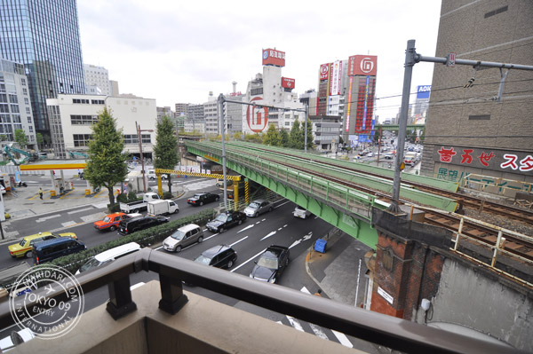 View from the balcony of B-SITE akihabara tokyo apartment - train tracks!